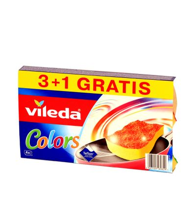 Սպունգ Վիլեդա, փյուր ակտիվ, գունավոր, 3+1 հատ