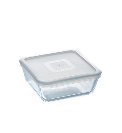 Պլաստիկ կափարիչով, ապակյա ջերմակայուն քառակուսաձև տարա, Փայրեքս, 0,85 լ