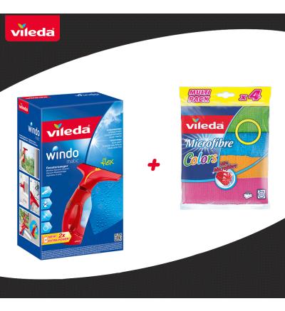 Վինդոումեթիկ  ապակու մաքրիչ + Vileda գունավոր լաթեր