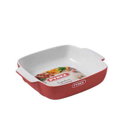 Քառակուսաձև կարմիր  կերամիկական ձևաման Փայրեքս, 22 սմ
