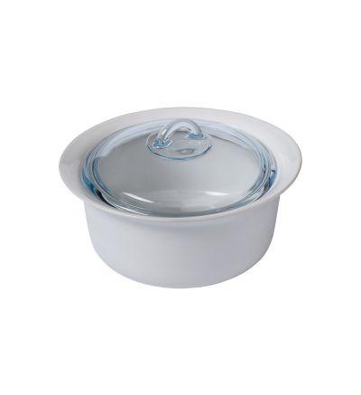 Սպտակ կերամիկական կաթսա ապակյա կափարիչով Փայրեքս, 26սմ-2,5լ
